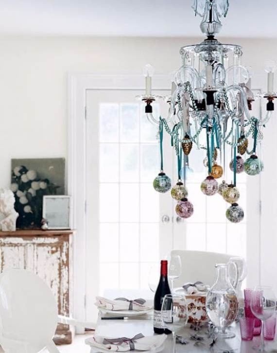 45 Christmas Decorating Ideas For Pendant Lights And Chandeliers Within Turquoise Ball Chandeliers (Image 8 of 25)