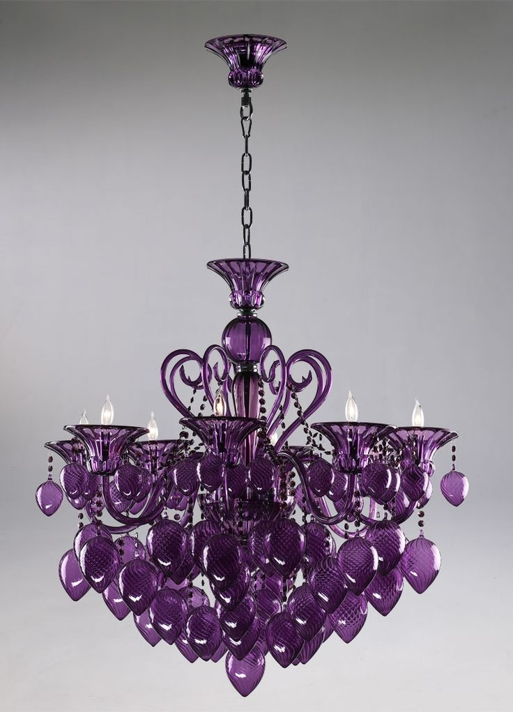 474 Best Purple Lamps Lighting Images On Pinterest Regarding Purple Crystal Chandeliers (Photo 7 of 25)