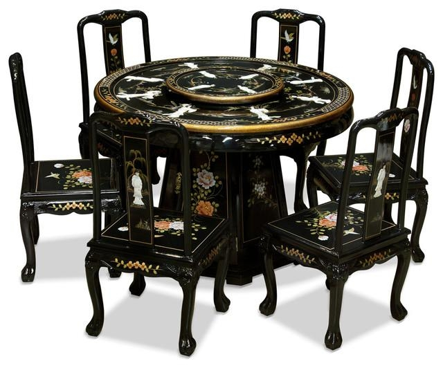 "48"" Black Lacquer Pearl Figure Motif Round Dining Table With 6 In Dining Table Sets With 6 Chairs (Image 3 of 20)"