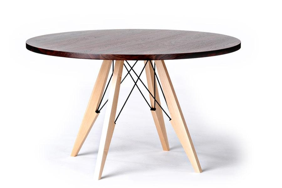 48 Round Dining Table In Walnut Maple & Steel For Circle Dining Tables (Image 1 of 20)