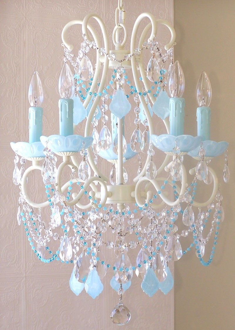5 Light Beaded Chandelier With Milky Opal Aqua Blue Crystals With Regard To Turquoise Chandelier Crystals (Image 4 of 25)