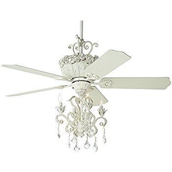 52 Casa Chic Rubbed White Chandelier Ceiling Fan Amazon For Chandelier Light Fixture For Ceiling Fan (Image 4 of 25)