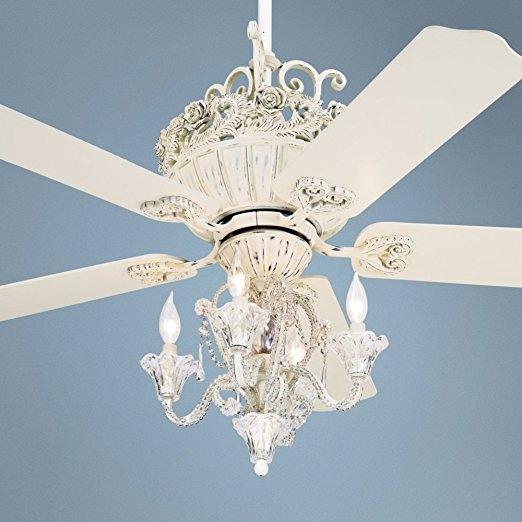 52 Casa Chic Rubbed White Chandelier Ceiling Fan Amazon In Chandelier Light Fixture For Ceiling Fan (Photo 9 of 25)