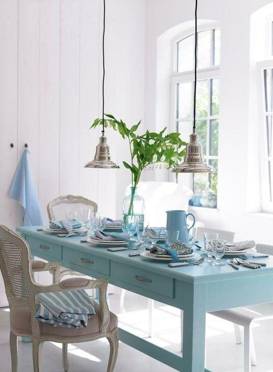 58 Best Beach Cottage Coastal Tables Images On Pinterest | Kitchen Throughout Blue Dining Tables (Image 2 of 20)