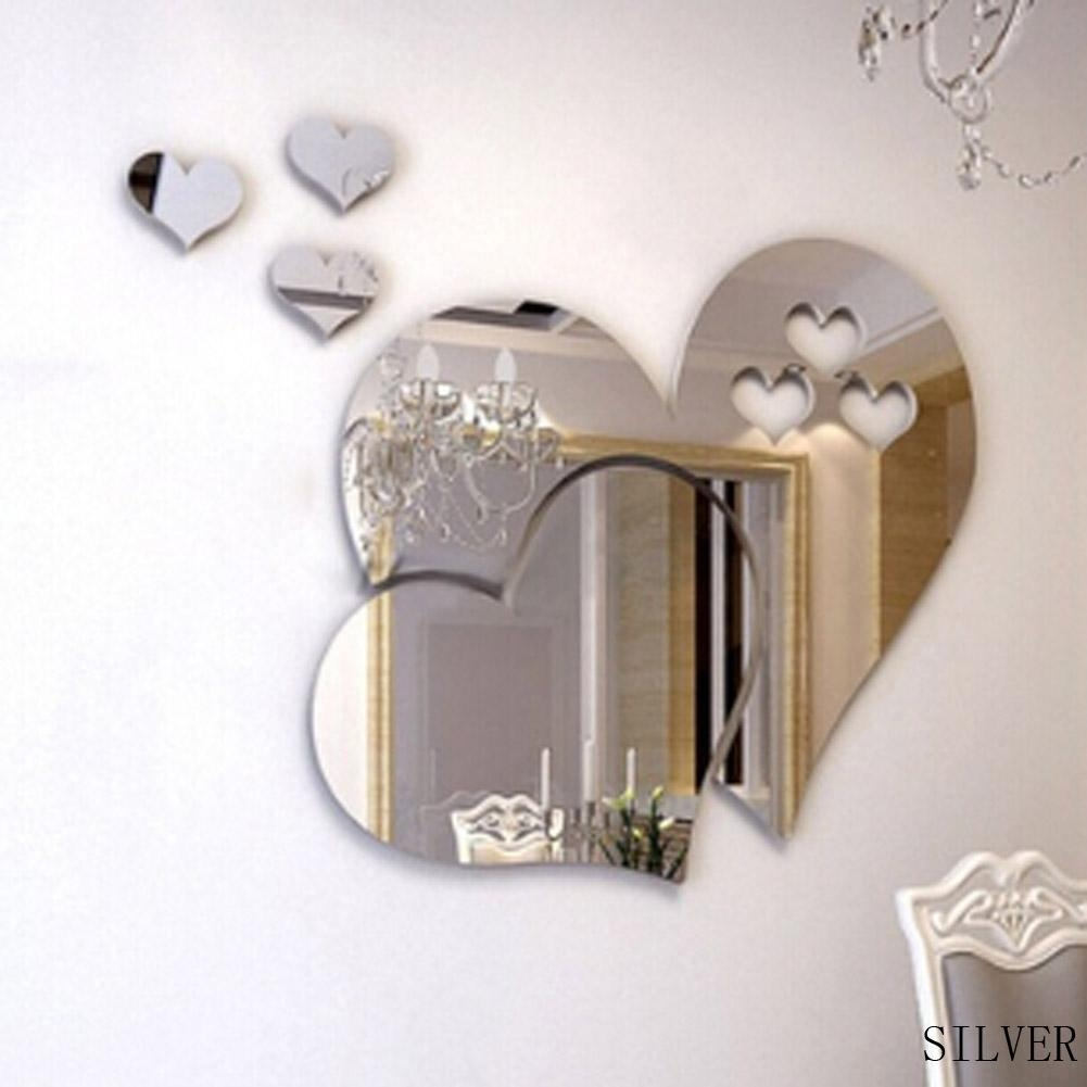 5Pc/set Heart Shaped Mirror Wall Stickers Three Dimensional Living Pertaining To Heart Shaped Mirror For Wall (Image 1 of 20)