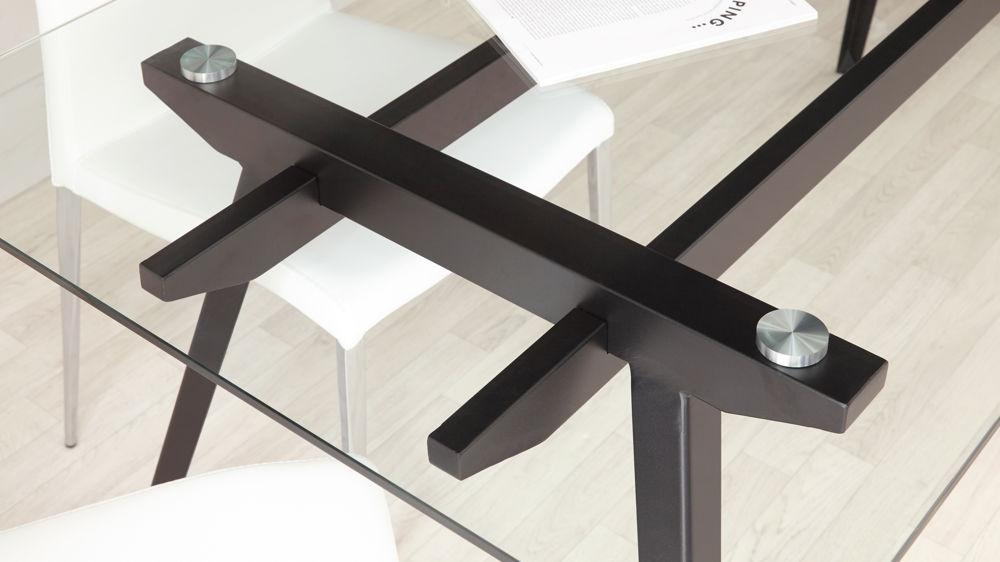 6 – 8 Seater Glass Dining Table | Black Powder Coated Legs Regarding Glass 6 Seater Dining Tables (Image 4 of 20)
