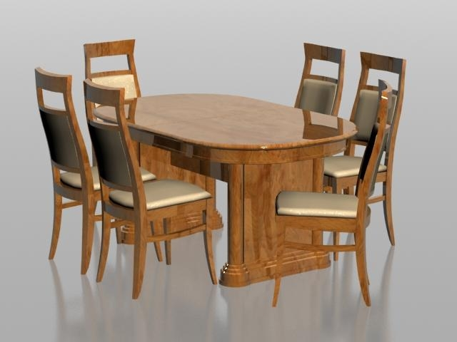 6 Seater Dining Set 3D Model 3Dsmax Files Free Download – Modeling With Regard To Six Seater Dining Tables (Photo 2 of 20)