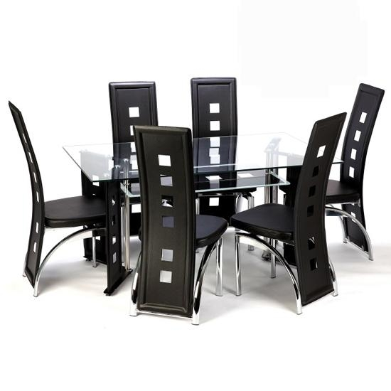 6 Seater Round Glass Dining Table All Products Kitchen Kitchen Regarding 6 Seater Glass Dining Table Sets (Image 9 of 20)