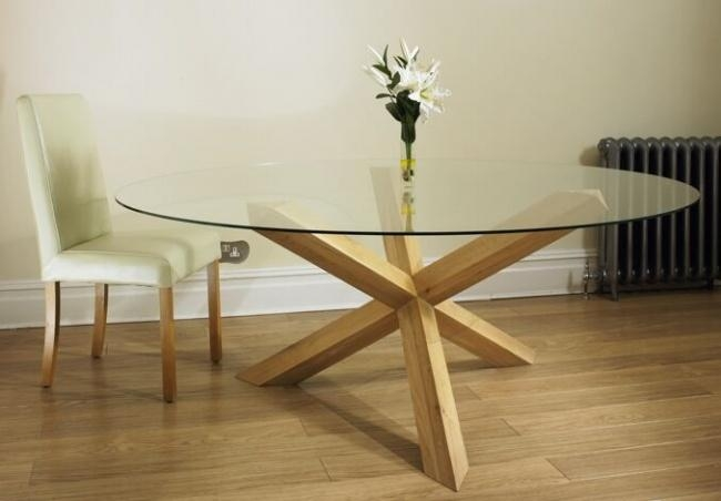 6 Seater Round Glass Dining Table All Products Kitchen Kitchen Within Glass Dining Tables With Oak Legs (Image 2 of 20)