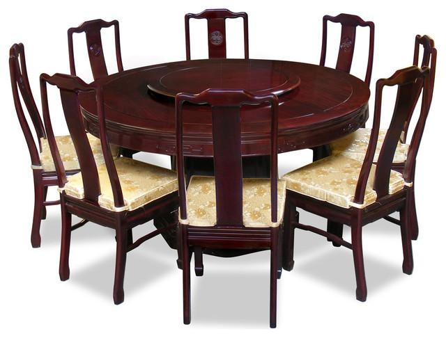 "60"" Rosewood Longevity Design Round Dining Table With 8 Chairs For Asian Dining Tables (Image 3 of 20)"