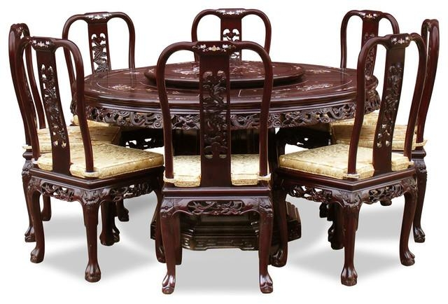 "60"" Rosewood Queen Ann Pearl Inlay Motif Round Dining Table With 8 In Asian Dining Tables (View 9 of 20)"