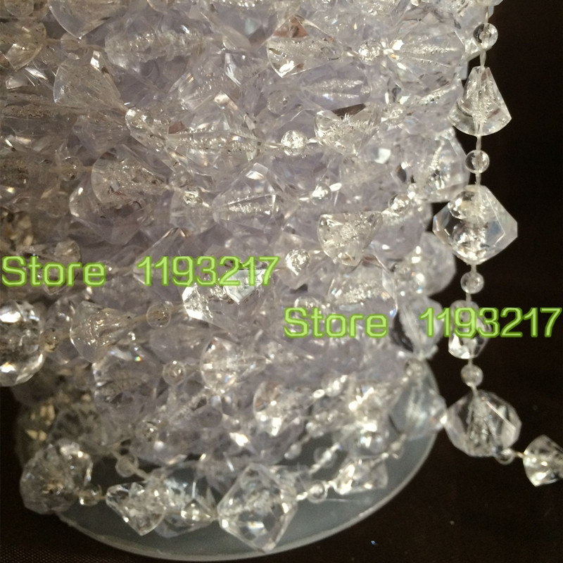 60ft 14mm Large Gemstone Diamond Clear Garland Faux Crystal Bead Intended For Faux Crystal Chandelier Wedding Bead Strands (Image 6 of 25)