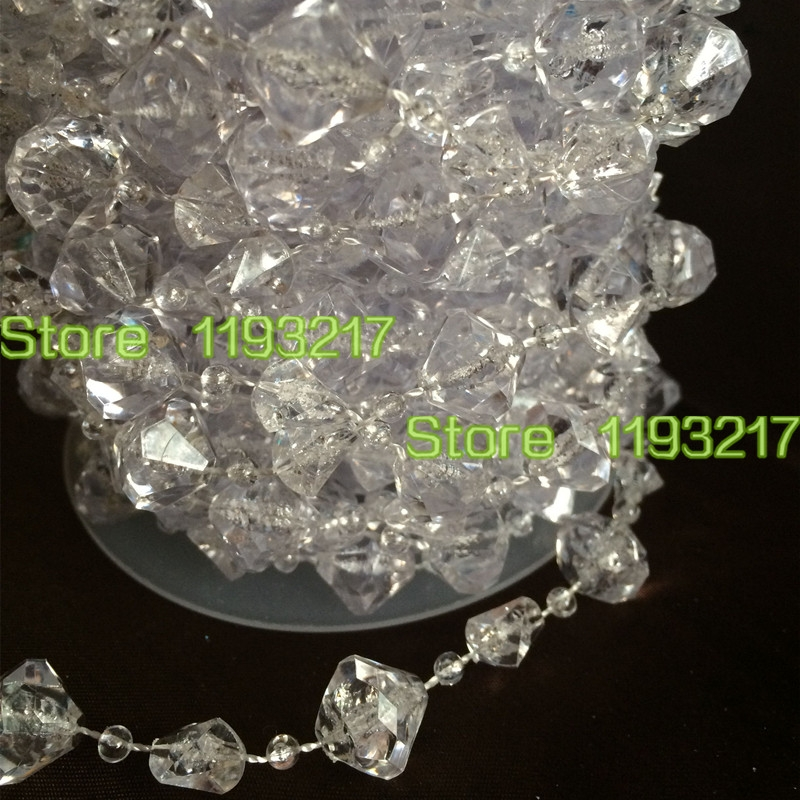 60ft 14mm Large Gemstone Diamond Clear Garland Faux Crystal Bead Regarding Faux Crystal Chandelier Wedding Bead Strands (Image 7 of 25)