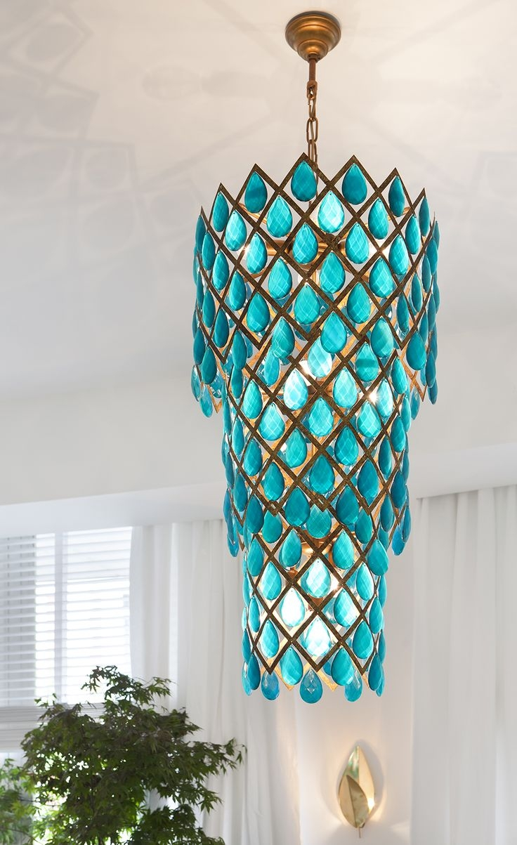 633 Best Luscious Lighting Images On Pinterest Intended For Turquoise Chandelier Crystals (Image 6 of 25)