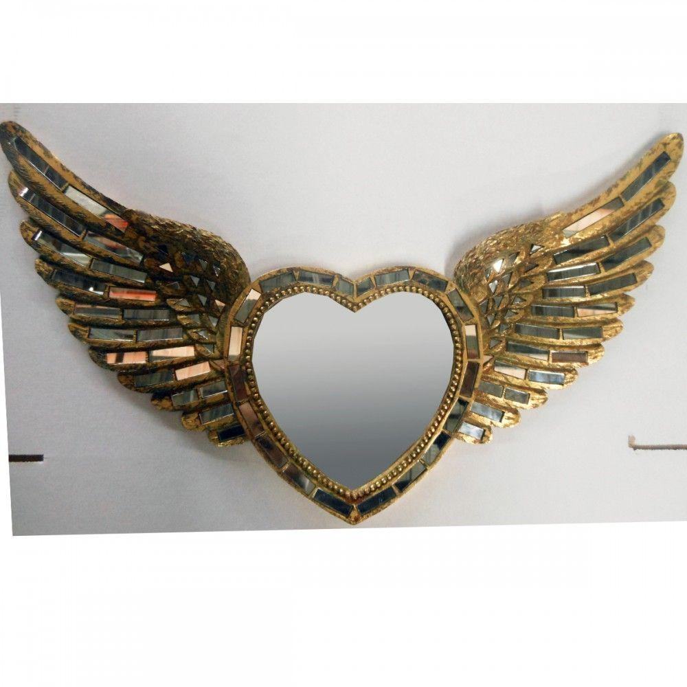 65Cm X 36Cm Antique Gold Heart & Wings Silver Mirror In Gold Heart Mirror (Photo 13 of 20)