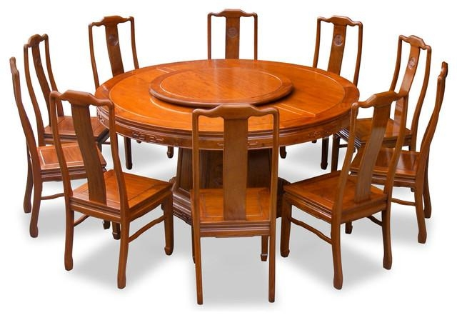 "66"" Rosewood Longevity Design Round Dining Table With 10 Chairs In Dining Table And 10 Chairs (Photo 18 of 20)"