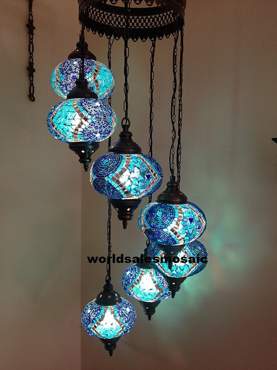 7 Ball Large Mosaics Turkish Moroccan Hanging Glass Mosaic Helezon Intended For Turquoise Ball Chandeliers (Image 11 of 25)