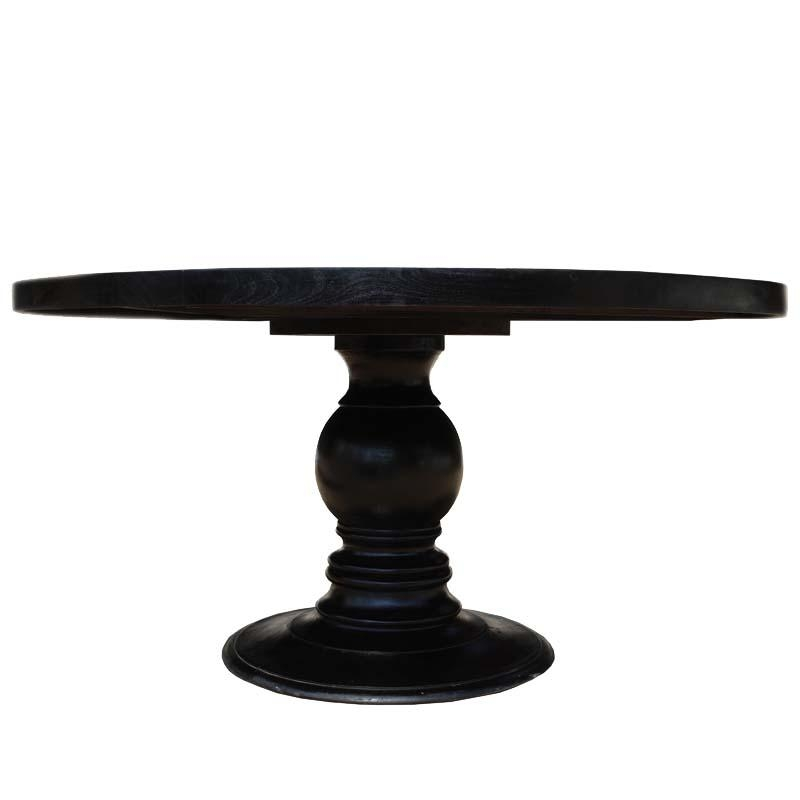 "72"" Black Round Dining Table Made In Solid Wood W Round Pedestal Base Throughout Dark Round Dining Tables (Image 2 of 20)"