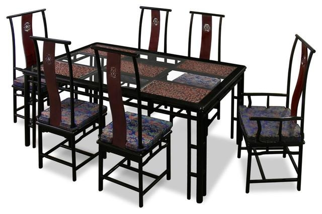 "74"" Rosewood Ming Style Dining Table With 6 Chairs – Asian For Dining Table Sets With 6 Chairs (Photo 15 of 20)"