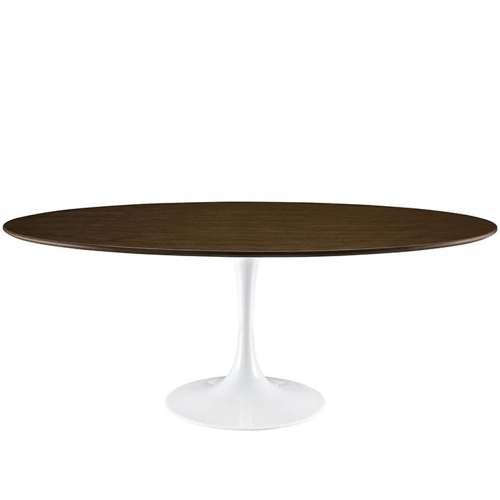 "78"" Oval Shaped Walnut Modern Round Dining Table With Nora Dining Tables (View 11 of 20)"