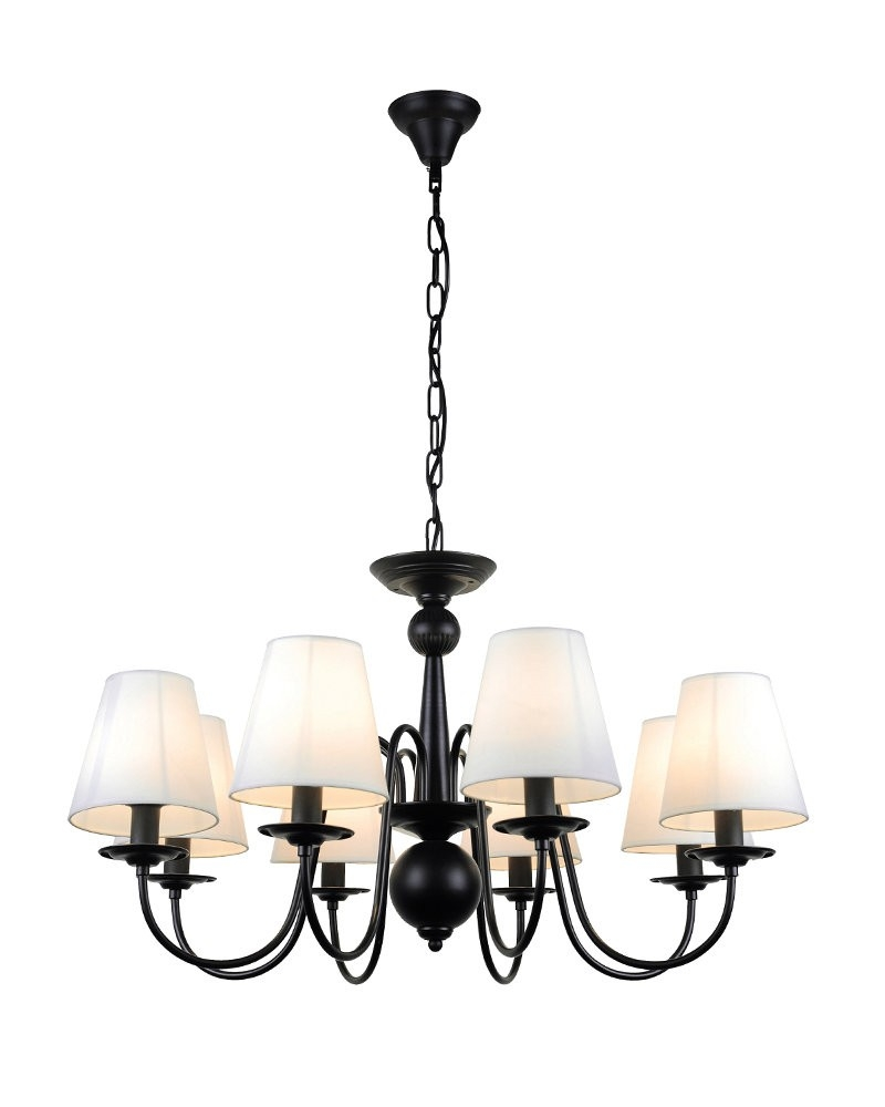 8 Lights Industrial Black Iron Chandelier With Fabric Shades Regarding Chandeliers With Black Shades (Image 2 of 25)