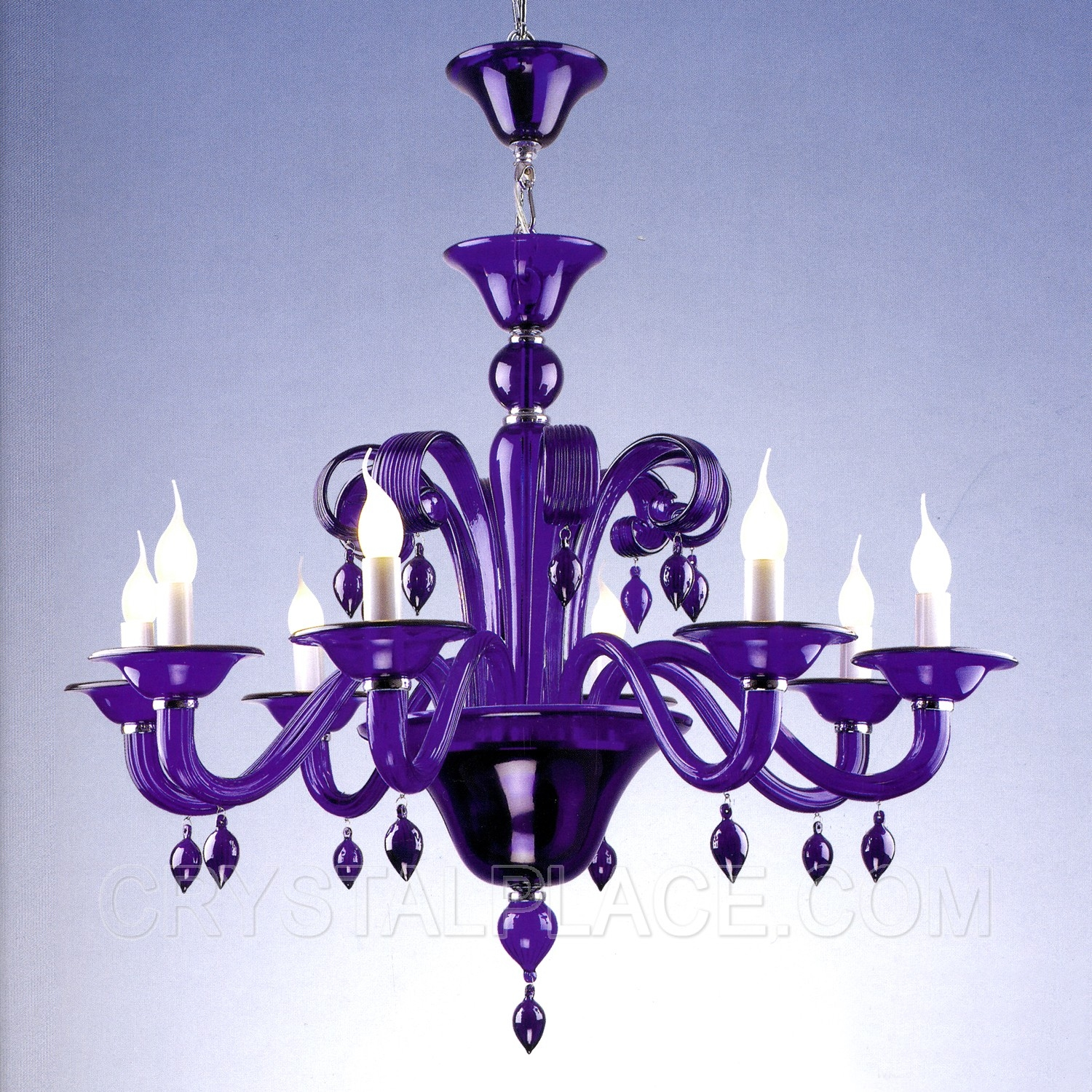8 Lights Purple Crystal Chandelier W35 X H25 Hand Blown Glass Intended For Purple Crystal Chandelier Lights (Image 3 of 25)