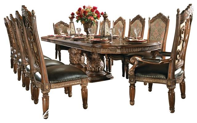 8 Piece Villa Valencia Dining Room Table Set With China Intended For Dining Tables Set For 8 (Photo 8 of 20)