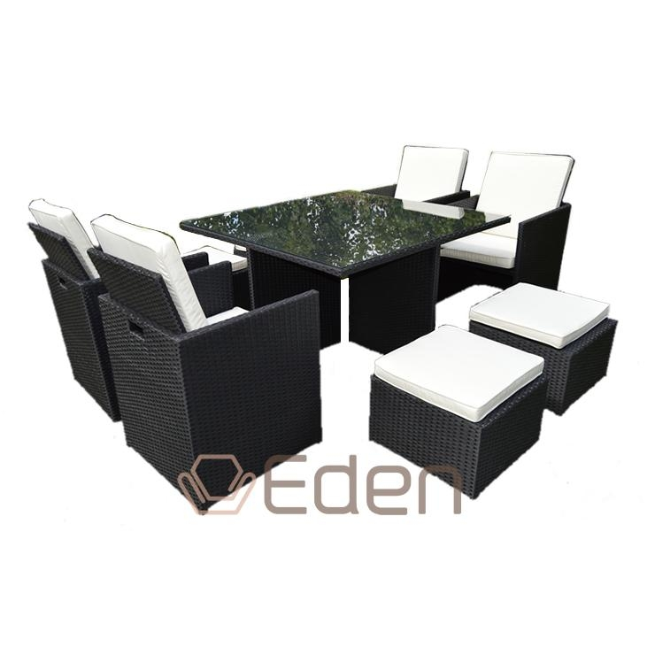 8 Seater Grey Rattan Cube Dining Table/chair Set Garden/outdoor With Regard To Cube Dining Tables (Image 2 of 20)