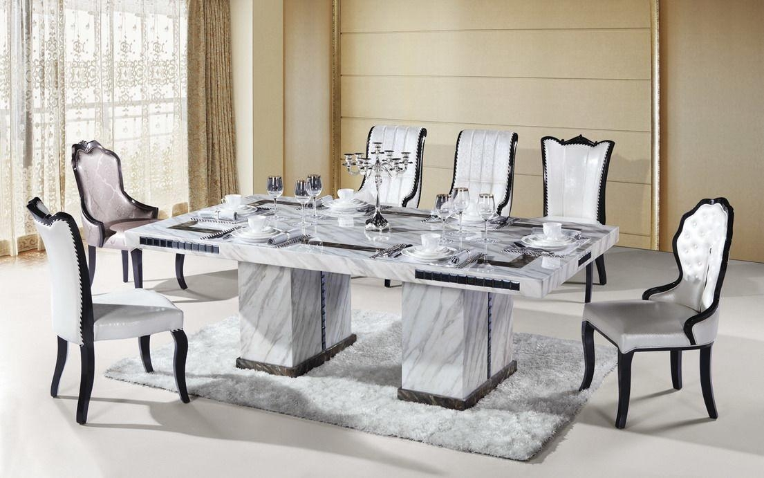 8 Seater Rectangle Marble Dining Table With White 8 Seater Dining Tables (Image 3 of 20)