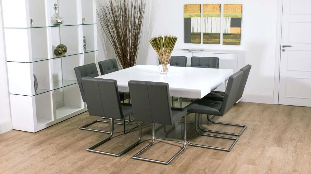 8 Seater Square Dining Table Measurements Dining Tables Square Throughout White 8 Seater Dining Tables (Image 4 of 20)