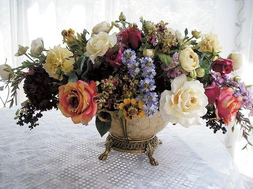 87 Best Floral Design In Oblong Or Rectangle Container Images On Pertaining To Artificial Floral Arrangements For Dining Tables (Image 6 of 20)