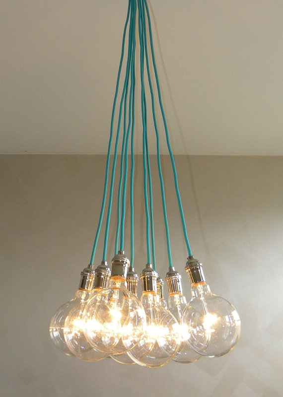 9 Cluster Cualquier Color Lmpara Colgante Por Hangoutlighting For Turquoise Color Chandeliers (View 17 of 25)