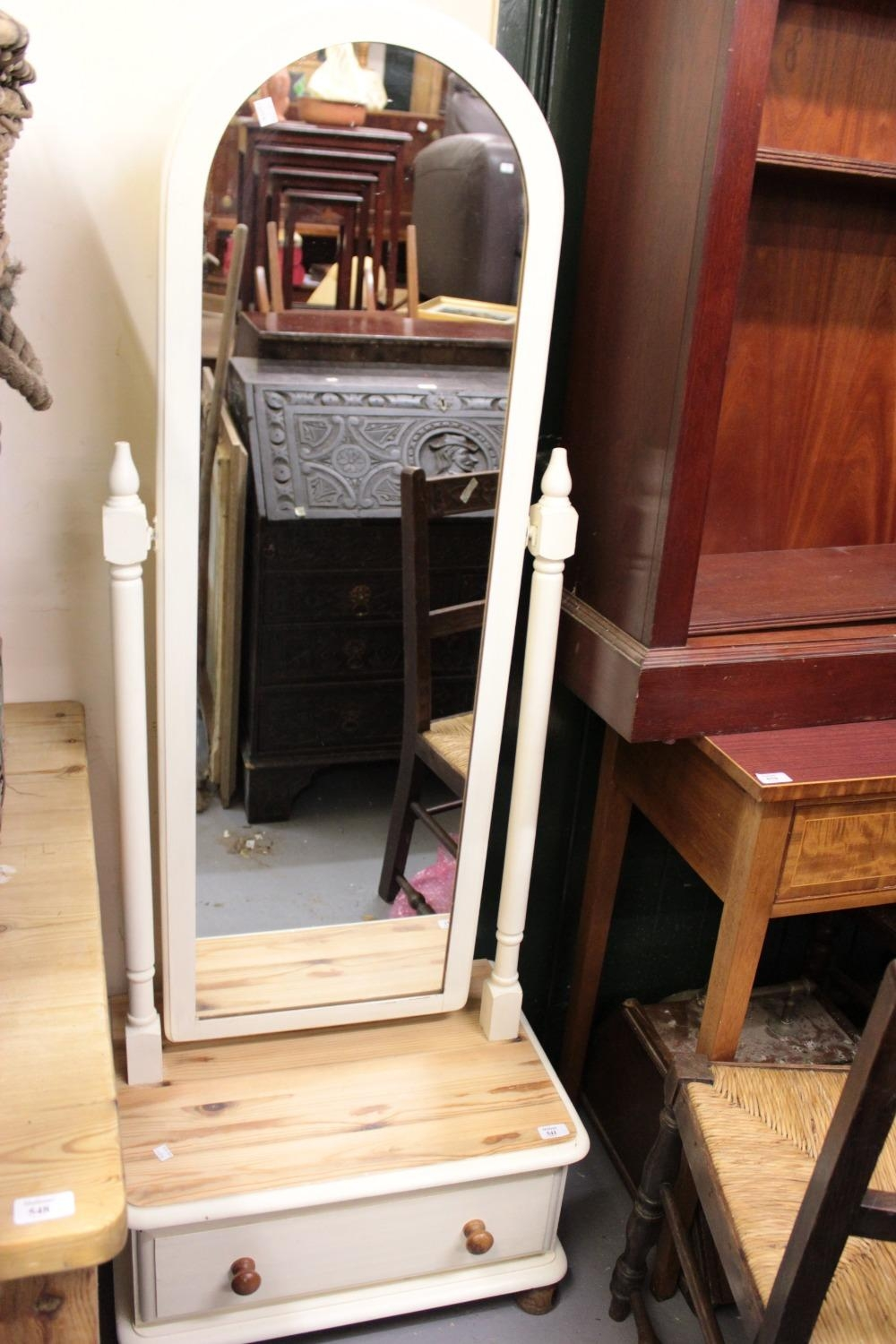 A 20Th Century Cream Painted Pine Cheval Mirror With Single Drawer Intended For Cream Cheval Mirror (View 10 of 20)