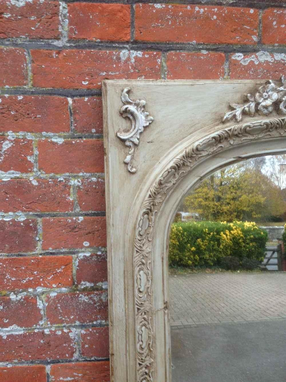 A Beautiful Large Antique 19Th Century French Carved Wood & Gesso With Antique Arched Mirror (Image 1 of 20)