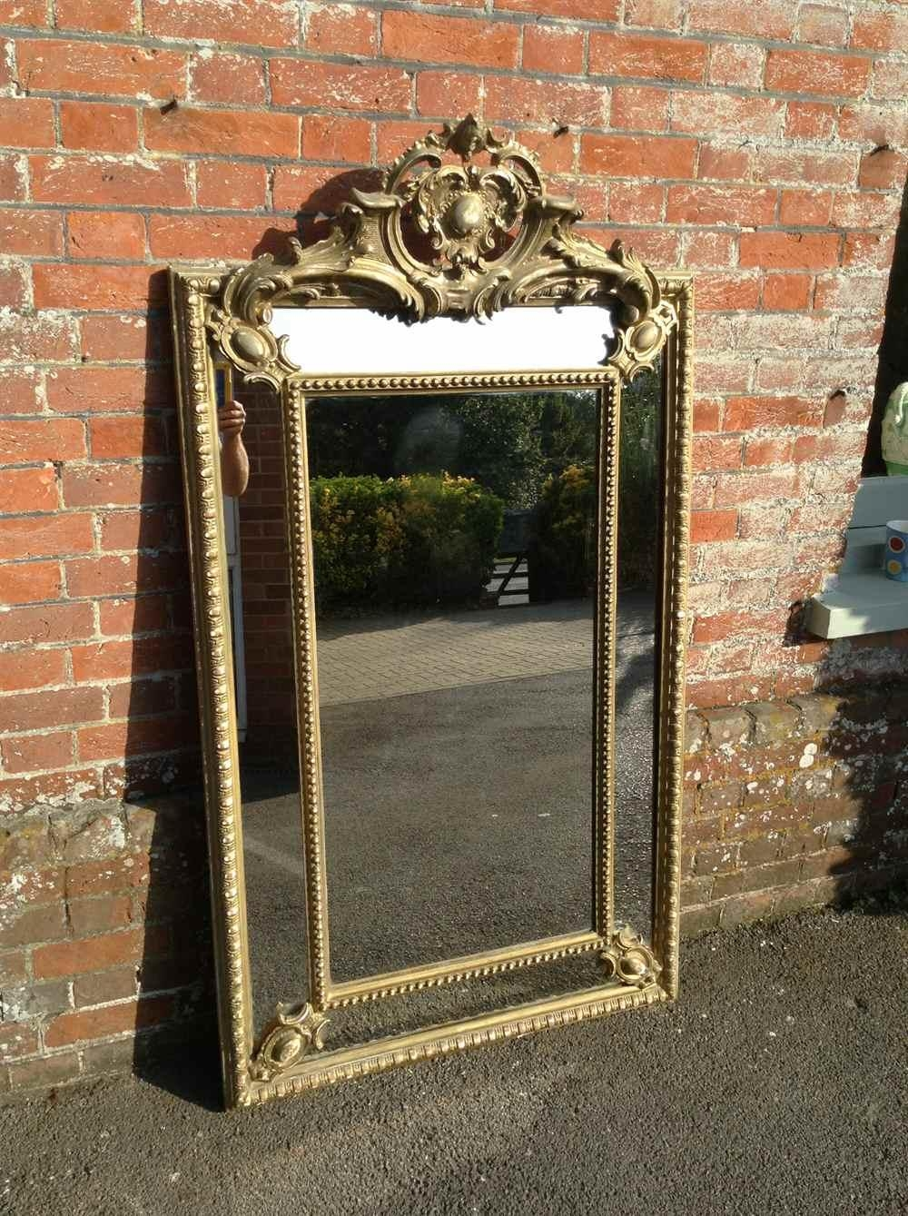 A Fabulous Large Antique 19Th Century French Carved Wood And Gesso In French Mirrors Antique (Image 2 of 20)