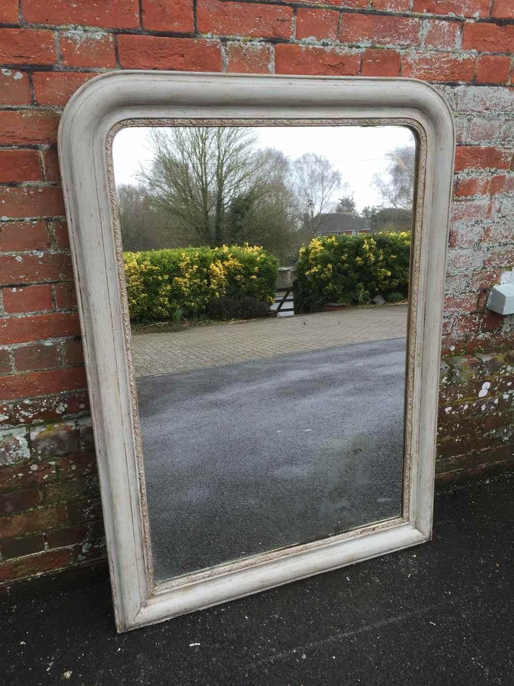 A Good Size Early Antique 19Th Century French Painted Arched Top In Curved Top Mirror (Image 3 of 20)