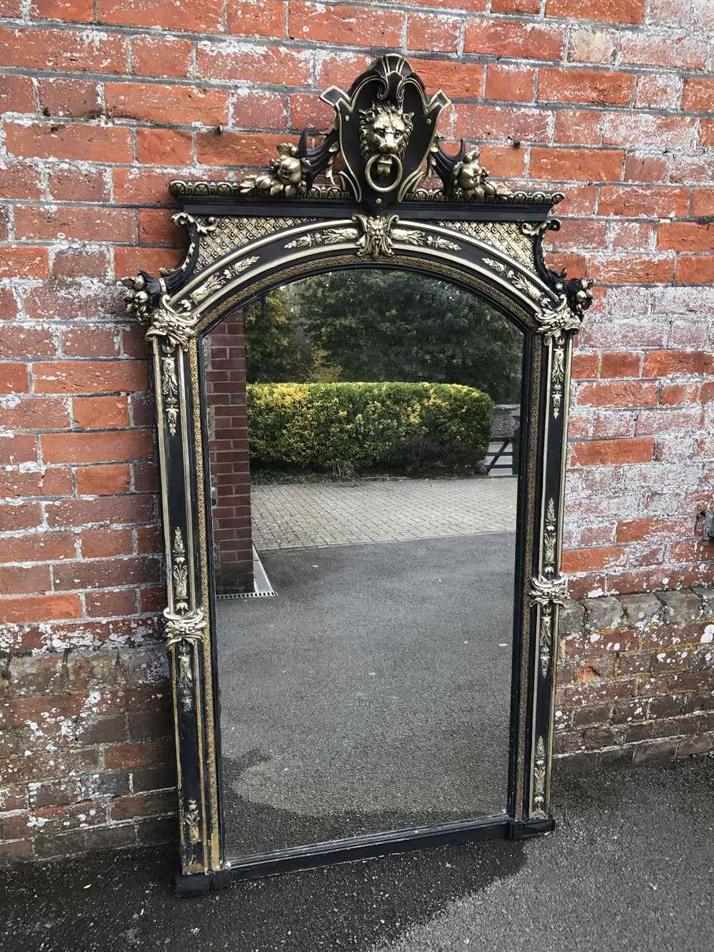 A Highly Decorative Large Antique 19Th Century French Carved Wood For Black Antique Mirror (Image 1 of 20)