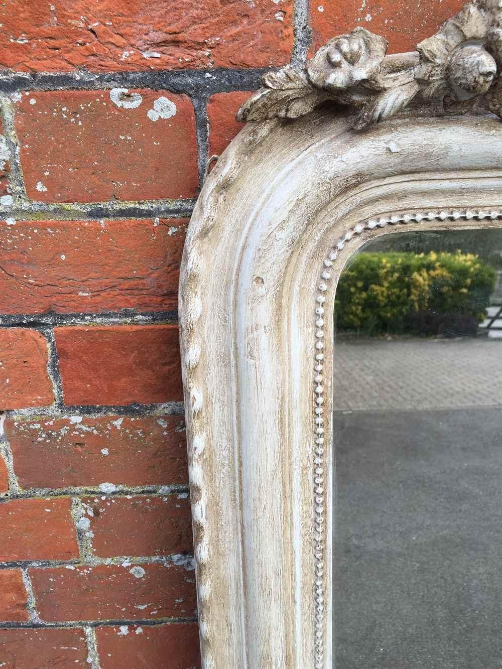 A Large Antique 19Th Century French Carved Wood & Gesso Painted For Curved Top Mirror (Image 5 of 20)