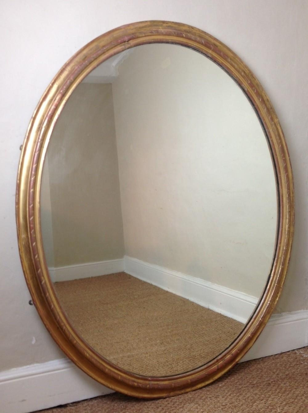 A Large English Gilt Oval Mirror C 1860 | 279595 | Sellingantiques Throughout Large Oval Mirror (Image 1 of 20)