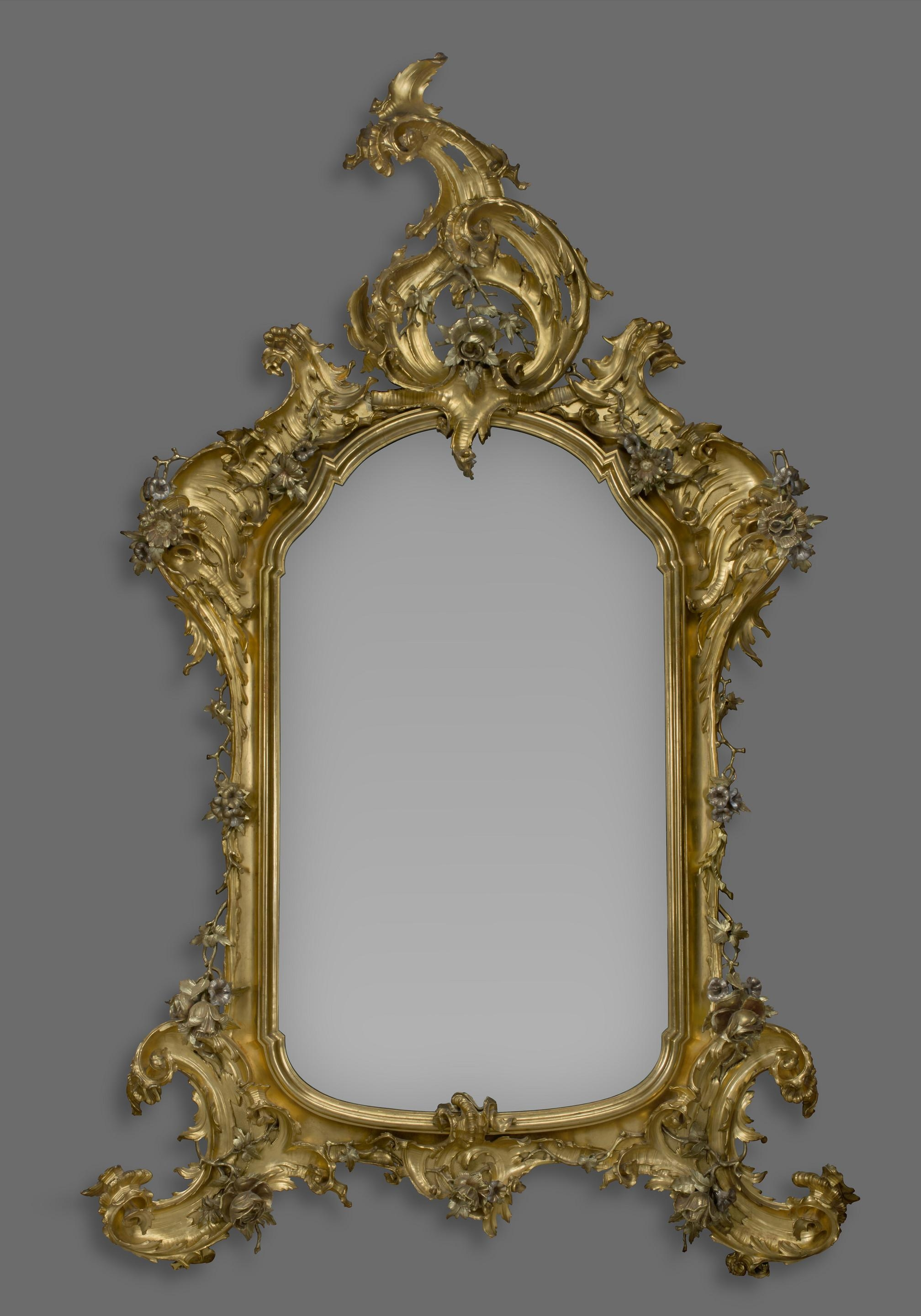 A Large Rococo Style Carved Giltwood And Silver Gilt Mirror (C For French Rococo Mirror (Image 8 of 20)