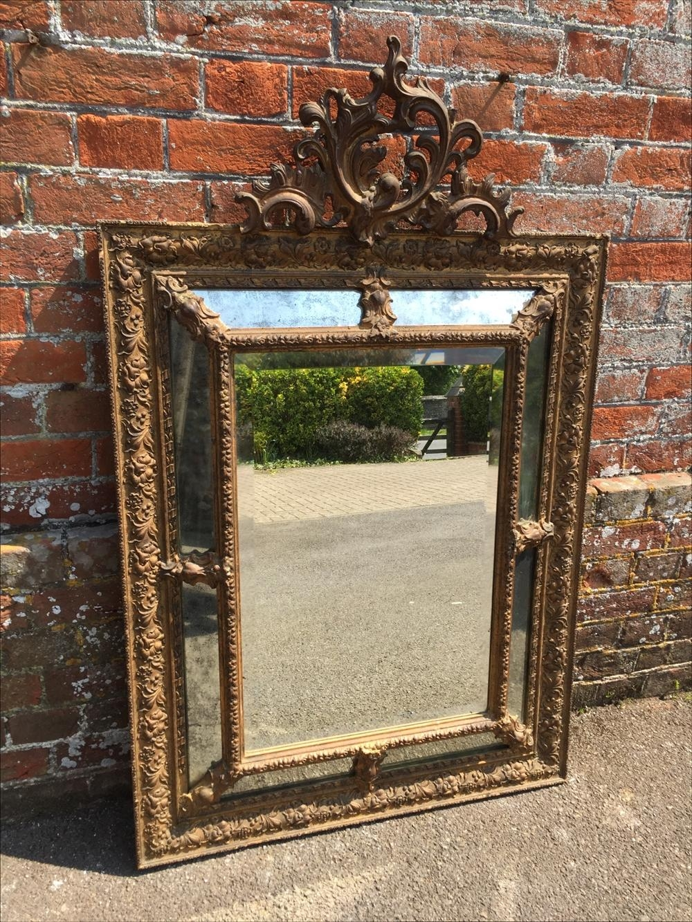 A Wonderful Antique 19Th Century French Carved Wood & Gesso Intended For French Mirrors Antique (Image 6 of 20)