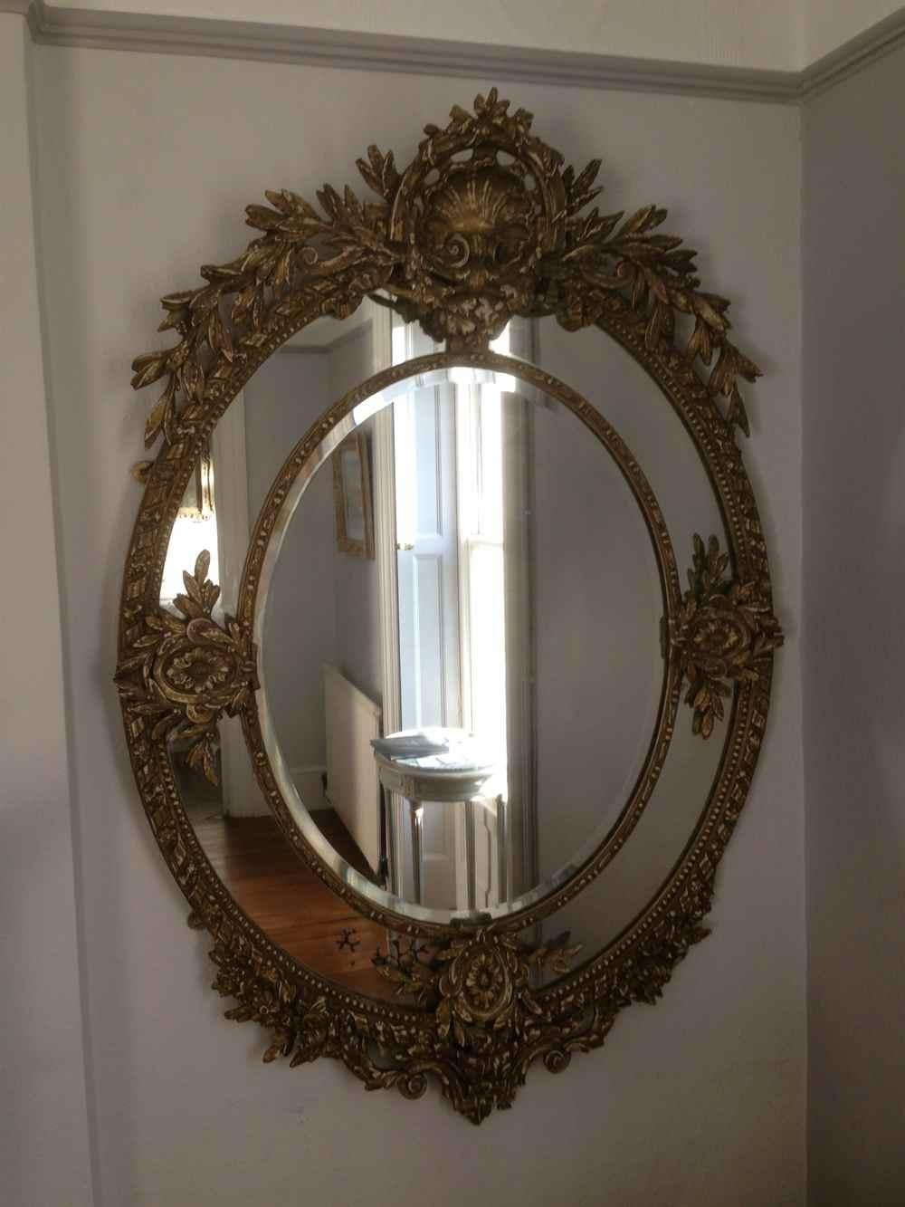 A Wonderful Large Antique 19Th Century French Carved Wood Oval Intended For French Mirrors Antique (Image 8 of 20)