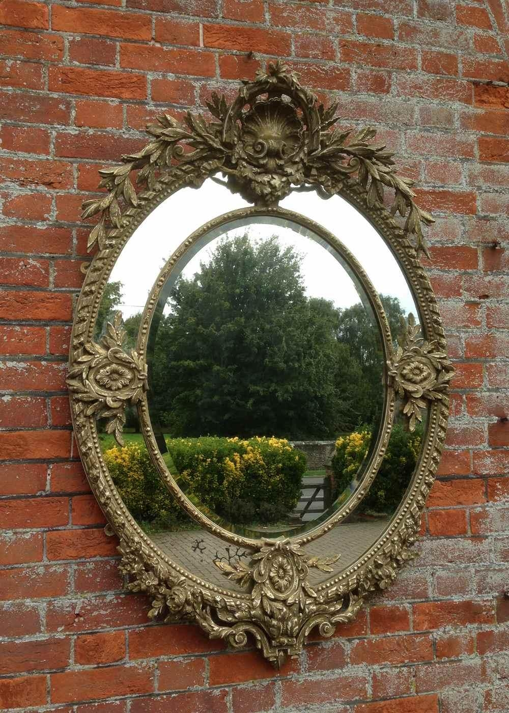 A Wonderful Large Antique 19Th Century French Carved Wood Oval With Regard To French Mirrors Antique (Image 9 of 20)