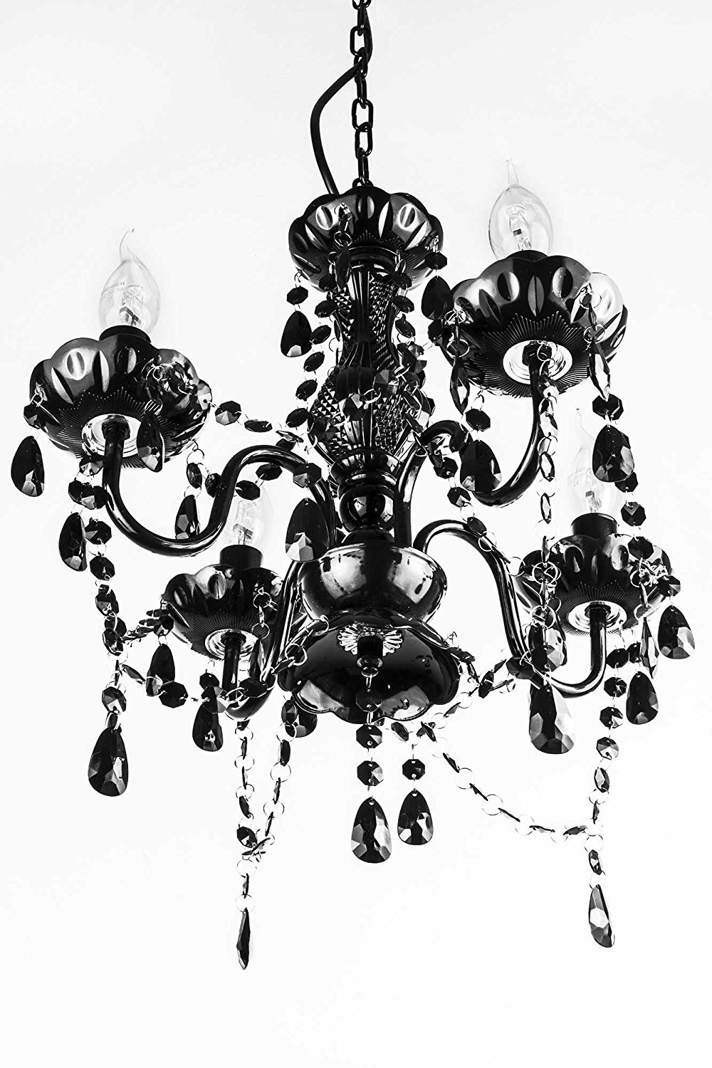 A2s Gypsy Crystal Chandelier Small Black 4 Arm H18 W15 With Small Gypsy Chandeliers (Image 5 of 25)