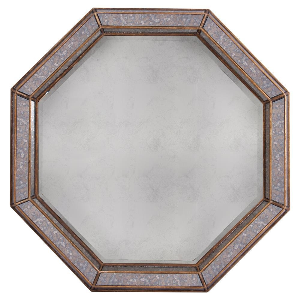 Abbott Regency Octagon Antique Brass Grey Wall Mirror | Kathy Kuo Home Intended For Antique Wall Mirror (Image 1 of 20)