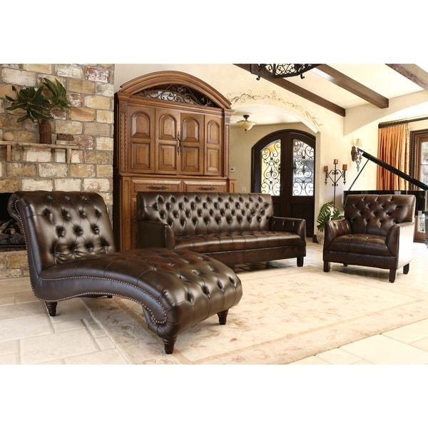 Abbyson Alessio Brown Leather Living Room Sofa Set – Free Shipping With Abbyson Living Sofas (View 16 of 20)