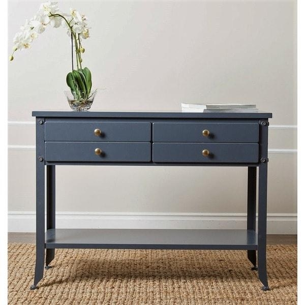 Abbyson 'antoni' Antiqued Blue Console Sofa Table – Free Shipping With Regard To Blue Sofa Tabless (Image 5 of 20)