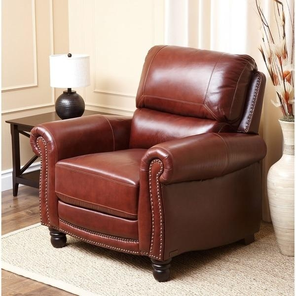 Abbyson Baron Hand Rubbed Pushback Leather Recliner – Free In Abbyson Recliners (Image 1 of 20)
