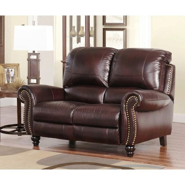 Abbyson Baron Hand Rubbed Pushback Leather Recliner – Free Inside Abbyson Recliners (Image 2 of 20)