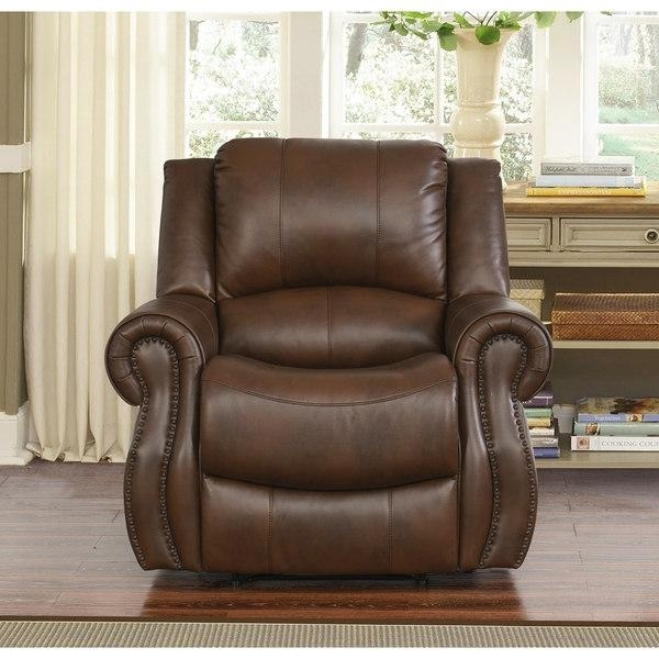 Abbyson Calabasas Mesa Camel Leather Recliner – Free Shipping Intended For Abbyson Recliners (Image 5 of 20)